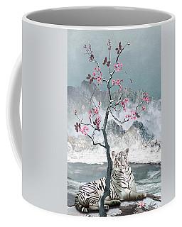 White Tiger And Plum Tree Coffee Mug
