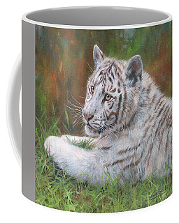 Coffee Mug featuring the painting White Tiger Cub 2 by David Stribbling
