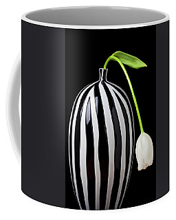 White Tulip In Striped Vase Coffee Mug by Garry Gay