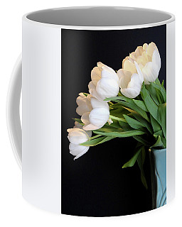 White Tulips In Blue Vase Coffee Mug