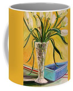 White Tulips In Cut Glass Coffee Mug