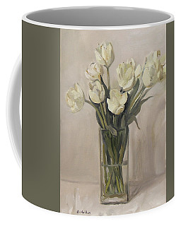 White Tulips In Rectangular Glass Vase Coffee Mug