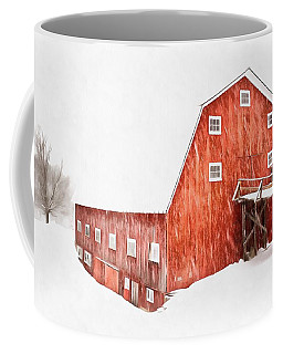 Coffee Mug featuring the painting Whiteout On The Farm Blizzard Stella by Edward Fielding