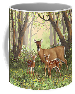 Whitetail Doe And Fawns - Mom's Little Spring Blossoms Coffee Mug