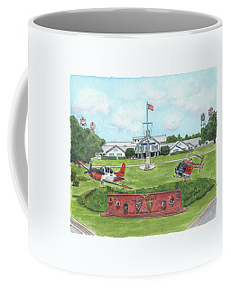 Coffee Mug featuring the painting Whiting Field Welcome Sign by Betsy Hackett