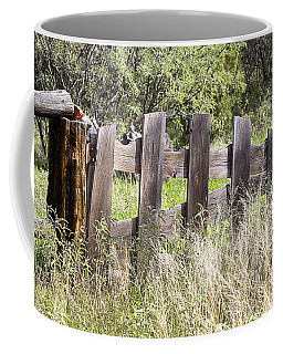 Coffee Mug featuring the photograph Who Ate The Fence by Phyllis Denton