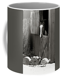 Coffee Mug featuring the photograph Why Did The Guinea Hen Cross The Road - Sepia by Angela Rath