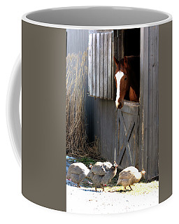 Coffee Mug featuring the photograph Why Did The Guinea Hen Cross The Road by Angela Rath