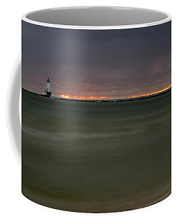 Wide View Of Lighthouse And Sunset Coffee Mug
