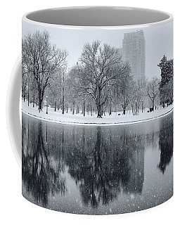 Snowy Reflections Of Trees In Lake At City Park, Denver Co  Coffee Mug