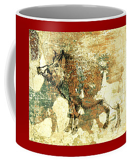 Coffee Mug featuring the drawing Wild Boar Cave Painting 1 by Larry Campbell