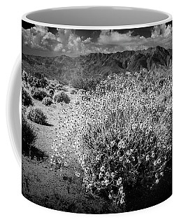 Coffee Mug featuring the photograph Wild Desert Flowers Blooming In Black And White In The Anza-borrego Desert State Park by Randall Nyhof