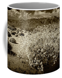 Coffee Mug featuring the photograph Wild Desert Flowers Blooming In Sepia Tone  by Randall Nyhof