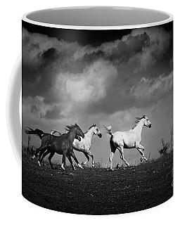 Wild Horses - Black And White Coffee Mug