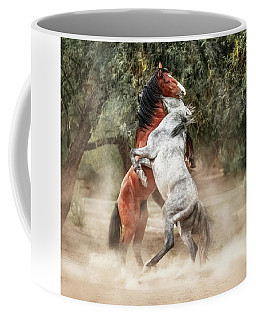 Wild Horses Rearing Up Play Fighting Coffee Mug