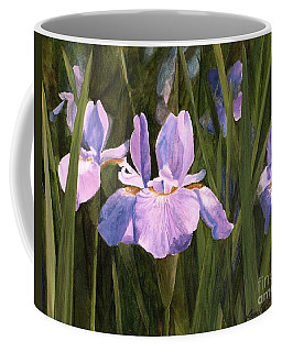 Coffee Mug featuring the painting Wild Iris by Laurie Rohner