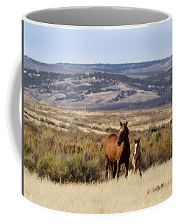 Wild Mare With Young Foal In Sand Wash Basin Coffee Mug
