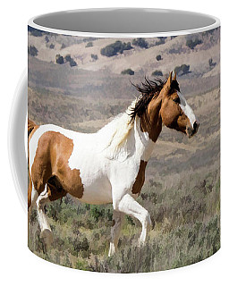 Wild Mustang Stallion On The Move In Sand Wash Basin Coffee Mug