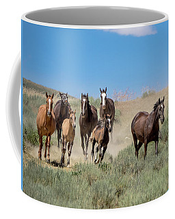 wild mustangs on the run to the water hole in Sand Wash Basin Coffee Mug