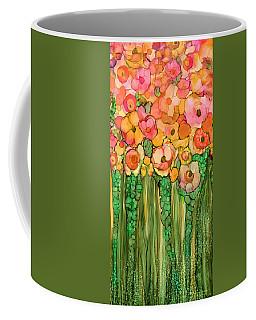 Coffee Mug featuring the mixed media Wild Poppy Garden - Gold by Carol Cavalaris