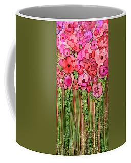 Coffee Mug featuring the mixed media Wild Poppy Garden - Pink by Carol Cavalaris