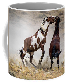 Wild Stallion Battle - Picasso And Dragon Coffee Mug by Nadja Rider