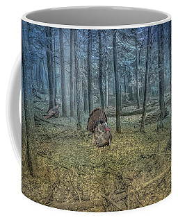 Wild Turkeys In Forest Version Two Coffee Mug by Randy Steele