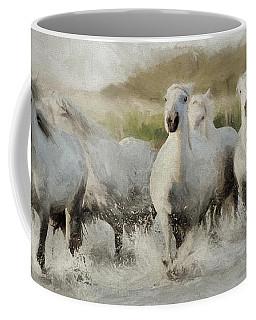 Wild White Horses Of The Camargue I Coffee Mug