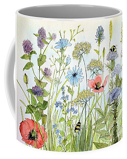 Wildflower And Bees Coffee Mug by Laurie Rohner