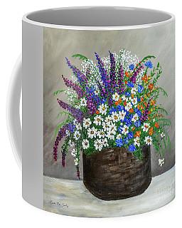 Coffee Mug featuring the painting  Wildflower Basket Acrylic Painting A61318 by Mas Art Studio