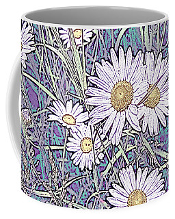 Wildflower Daisies In Field Of Purple And Teal Coffee Mug