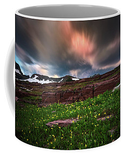 Coffee Mug featuring the photograph Wildflowers And Motion Clouds At Glacier National Park by William Lee