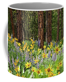 Balsamroot And Lupine In A Ponderosa Pine Forest Coffee Mug