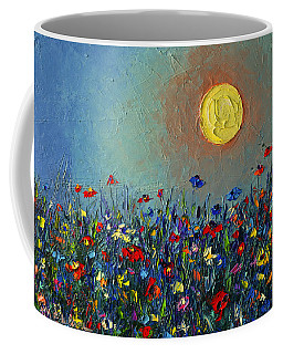 Wildflowers Meadow Sunrise Modern Floral Original Palette Knife Oil Painting By Ana Maria Edulescu Coffee Mug