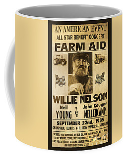 Willie Nelson Neil Young 1985 Farm Aid Poster Coffee Mug by John Stephens