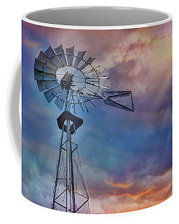 Coffee Mug featuring the photograph Windmill At Sunset by Susan Candelario