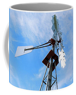 Coffee Mug featuring the photograph Windmill - Mildly Cloudy Day by Ray Shrewsberry