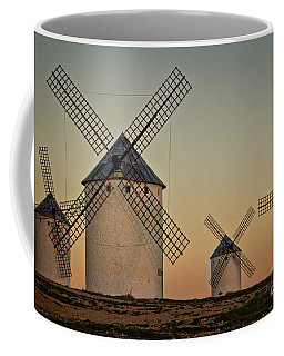 Coffee Mug featuring the photograph Windmills In Golden Light by Heiko Koehrer-Wagner