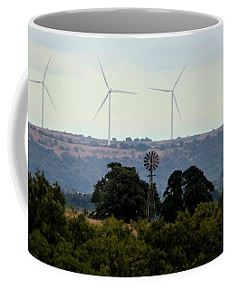 Coffee Mug featuring the photograph Windmills Old And New by Sheila Brown