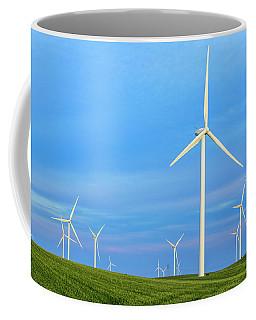 Coffee Mug featuring the photograph Windmills On Blue by Randy Bayne