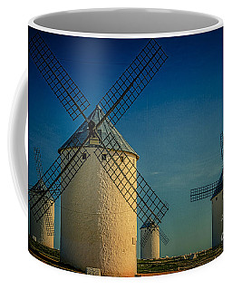 Coffee Mug featuring the photograph Windmills Under Blue Sky by Heiko Koehrer-Wagner