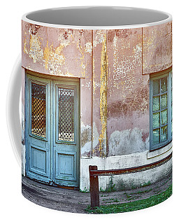 Coffee Mug featuring the photograph Window And Door Of Old Train Station by Eduardo Jose Accorinti