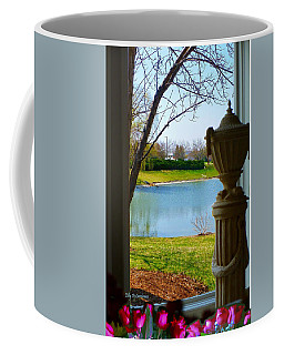 Coffee Mug featuring the pyrography Window View Pond by Elly Potamianos