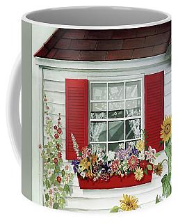 Windowbox With Cat Coffee Mug by Bonnie Siracusa