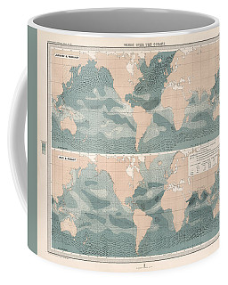 Winds Over The Oceans - Meteorological Map - Geological Map - Wind Direction And Speed Chart Coffee Mug