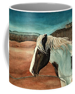 Coffee Mug featuring the painting Windswept - Paint Horse - Shawangunk by Janine Riley