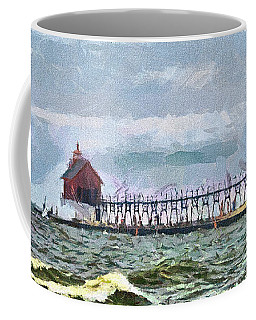Windy Day At Grand Haven Lighthouse Coffee Mug