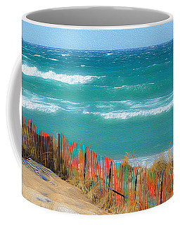 Coffee Mug featuring the photograph Windy Day On Lake Michigan by SimplyCMB