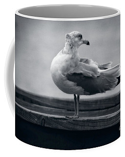 Coffee Mug featuring the photograph Windy Day Seagull  by Ella Kaye Dickey