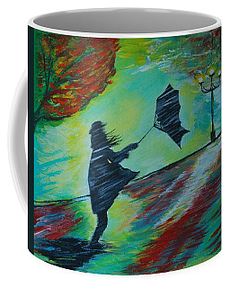Coffee Mug featuring the painting Windy Escapade by Leslie Allen